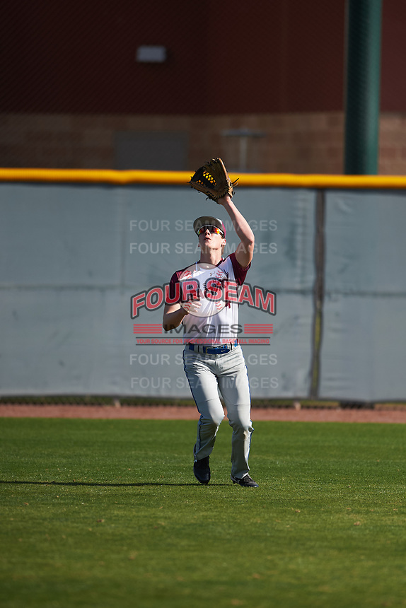 Chase Bennett (4) of Whiteland Community in Whiteland, Indiana during the Baseball Factory All-America Pre-Season Tournament, powered by Under Armour, on January 14, 2018 at Sloan Park Complex in Mesa, Arizona.  (Zachary Lucy/Four Seam Images)