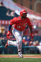 Harrisburg Senators outfielder Brian Goodwin (15) runs to first during a game against the Erie Seawolves on August 30, 2015 at Jerry Uht Park in Erie, Pennsylvania.  Harrisburg defeated Erie 4-3.  (Mike Janes/Four Seam Images)