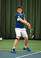 Rotterdam, The Netherlands, 07.03.2014. NOJK ,National Indoor Juniors Championships of 2014, 12and 16 years, Jens Hoogendam (NED)<br /> Photo:Tennisimages/Henk Koster