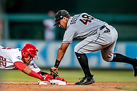 26 September 2018: Washington Nationals outfielder Juan Soto slides safely into second with a double in the 6th inning against the Miami Marlins at Nationals Park in Washington, DC. The Nationals defeated the visiting Marlins 9-3, closing out Washington's 2018 home season. Mandatory Credit: Ed Wolfstein Photo *** RAW (NEF) Image File Available ***