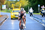 Casper Pedersen (DEN) Team Sunweb and Benoit Cosnefroy (FRA) AG2R-La Mondiale out front during Paris-Tours 2020, running 213km from Chartres to Tours, France. 11th October 2020.<br /> Picture: ASO/Gautier Demouveaux | Cyclefile<br /> All photos usage must carry mandatory copyright credit (© Cyclefile | ASO/Gautier Demouveaux)