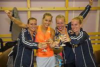 Moskou, Russia, Februari 7, 2016,  Fed Cup Russia-Netherlands, Dutch Team celebrates in the dressing room, Ltr: Cindy Burger, Arantxa Rus, Kiki Bertens and Richel Hogenkamp<br /> Photo: Tennisimages/Henk Koster
