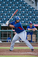 AZL Rangers first baseman Stephen Lohr (4) at bat against the AZL Indians on August 26, 2017 at Goodyear Ball Park in Goodyear, Arizona. AZL Indians defeated the AZL Rangers 5-3. (Zachary Lucy/Four Seam Images)