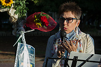"""Donatella Mei (Actress).<br /> <br /> Rome, 29/09/2020. Today, the VIII Municipio di Roma (8th Municipality of Rome) supported by the Associazione """"Il Tempo Ritrovato"""" and """"La Cultura Del Cuore"""", held a rally at Maria Rosaria Lopez's Park to commemorate the 45th anniversary of the Circeo massacre. On the 29th September 1975 Maria Rosaria Lopez and Donatella Colasanti were kidnapped, raped and tortured by three young-wealthy neo-fascist men, Angelo Izzo (20), Gianni Guido (19), Andrea Ghira (22), in a villa of Circeo, a wealthy seaside area about 100km south of Rome. Maria Rosaria Lopez (bartender, 19) was killed by her captors, Donatella Colasanti (student, 17), miraculously saved herself by pretending to be dead. From the organiser press released (1.): «[…] Maria Rosaria died that night, while Donatella left us in 2005 after years of struggles in the name of truth and justice trials which have traced a historical and cultural change in terms of condemnation of gender violence perpetrators and not of their victims. For the first time, feminist associations have taken civil action, shouting that for every woman raped and offended we are all women the victims of the violence […]».<br /> <br /> Footnotes & Links:<br /> 1. https://www.facebook.com/casaintdelledonneroma/photos/a.560595397299220/5070912089600839/?type=3&theater<br /> (Source, Globalist.it ITA) Un fiore per Rosaria e Donatella 45 anni dopo il massacro del Circeo http://bit.do/fJVuV<br /> (Source, Wikipedia.org, ITA) https://it.wikipedia.org/wiki/Massacro_del_Circeo"""