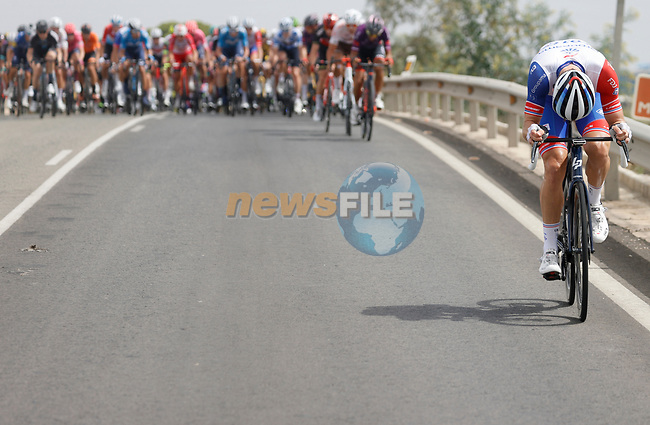 Groupama-FDJ try to break clear of the peloton during Stage 9 of La Vuelta d'Espana 2021, running 188km from Puerto Lumbreras to Alto de Velefique, Spain. 22nd August 2021.     <br /> Picture: Luis Angel Gomez/Photogomezsport   Cyclefile<br /> <br /> All photos usage must carry mandatory copyright credit (© Cyclefile   Luis Angel Gomez/Photogomezsport)