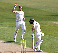 Dillon Pennington of Worcestershire celebrates taking the wicket of Ollie Robinson (R) during Kent CCC vs Worcestershire CCC, LV Insurance County Championship Division 3 Cricket at The Spitfire Ground on 5th September 2021