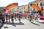 The start of Stage 2 of the 103rd edition of the Giro d'Italia 2020 running 149km from Alcamo to Agrigento, Sicily, Italy. 4th October 2020.  <br /> Picture: LaPresse/Gian Mattia D'Alberto | Cyclefile<br /> <br /> All photos usage must carry mandatory copyright credit (© Cyclefile | LaPresse/Gian Mattia D'Alberto)
