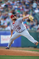 Syracuse Chiefs relief pitcher Sean O'Sullivan (38) during a game against the Buffalo Bisons on July 3, 2017 at Coca-Cola Field in Buffalo, New York.  Buffalo defeated Syracuse 6-2.  (Mike Janes/Four Seam Images)