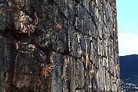 An artistic close view of a part of the Mura Ciclopiche, the fortifications that enclose the citadel in Alatri. The view enhances the large size of the blocks of stone that were used in the construction (Alatri, 2015).<br /> <br /> Una vista artistica dettagliata di una parte delle Mura Ciclopiche, le fortificazioni che circondano la cittadella in Alatri. La vista sottolinea la grandezza dei blocchi di pietra usati nella costruzione (Alatri, 2015).