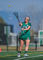 30 March 2016: Manhattan College Jasper Attacker Claire Roediger, a Senior from Katonah, NY, in action against the University of Vermont Catamounts at Virtue Field in Burlington, Vermont. The Lady Cats defeated the Jaspers 11-5 in non-conference play. Mandatory Credit: Ed Wolfstein Photo *** RAW (NEF) Image File Available ***