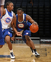Sheldon McClellan at the NBPA Top100 camp at the John Paul Jones Arena Charlottesville, VA. Visit www.nbpatop100.blogspot.com for more photos. (Photo © Andrew Shurtleff)