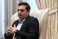 Pictured: Greek Prime Minister Alexis Tsipras at Megaro Maximou in Athens, Greece. Saturday 18 June 2016<br /> Re: The United Nations secretary-general is visiting Greece, ahead of talks with government officials and a trip to the island of Lesbos, which is at the forefront of Greece's immigration crisis.<br /> Ban Ki-moon met with officials and volunteers at the Solidarity Now group, which helps victims of Greece's financial crisis and migrants stuck in the country.<br /> He has also visited Greek President Procopis Pavlopoulos before travelling camps on Lesbos island where 3,400 refugees and other migrants live.