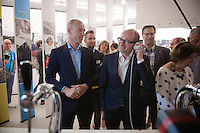 Sven Nys shows Minister of Sports Philippe Muyters (N-VA) around at the opening of the Sven Nys Cycling Center in Nys' hometown of Baal (Belgium)