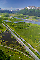 Aerial of the New Seward Highway, Portage Creek, which flows out of Portage lake through the Portage Valley and into the Turnagain Arm, Alaska