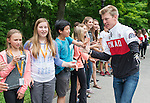 Ottawa ON - June 4 2014 - Mark Arendz gets high fives from school children during the Celebration of Excellence's visit to Rideau Hall. (Photo: Matthew Murnaghan/Canadian Paralympic Committee)