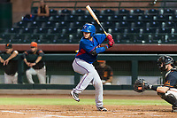 AZL Rangers catcher David Garcia (9) at bat during an Arizona League game against the AZL Giants Black at Scottsdale Stadium on August 4, 2018 in Scottsdale, Arizona. The AZL Giants Black defeated the AZL Rangers by a score of 6-3 in the second game of a doubleheader. (Zachary Lucy/Four Seam Images)