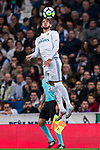 Theo Hernandez of Real Madrid heads the ball during the La Liga 2017-18 match between Real Madrid and SD Eibar at Estadio Santiago Bernabeu on 22 October 2017 in Madrid, Spain. Photo by Diego Gonzalez / Power Sport Images