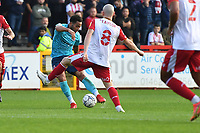 Sam Nombe of Exeter City shoots wide during Stevenage vs Exeter City, Sky Bet EFL League 2 Football at the Lamex Stadium on 9th October 2021