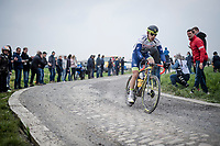 Wesley Kreder (NED/Wanty - Gobert) leading the race<br /> <br /> 117th Paris-Roubaix 2019 (1.UWT)<br /> One day race from Compiègne to Roubaix (FRA/257km)<br /> <br /> ©kramon