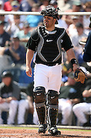 February 25, 2009:  Catcher Rod Barajas (20) of the Toronto Blue Jays during a Spring Training game at Dunedin Stadium in Dunedin, FL.  The New York Yankees defeated the Toronto Blue Jays 6-1.   Photo by:  Mike Janes/Four Seam Images