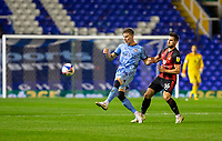 2nd October 2020; St Andrews Stadium, Coventry, West Midlands, England; English Football League Championship Football, Coventry City v AFC Bournemouth; Ben Sheaf of Coventry City passing the ball as he comes under pressure from Lewis Cook of AFC Bournemouth