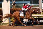 HALLANDALE BEACH, FL - JAN 27:  Gun Runner #10 with Florent Geroux up, for trainer Steve Asmussen, wins the $16,000,000 Pegasus World Cup  Invitational Stakes (G1) at Gulfstream Park on January 27, 2018 in Hallandale Beach, Florida. (Photo by Liz Lamont/Eclipse Sportswire/Getty Images)
