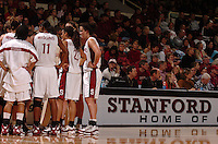 1 January 2006: Candice Wiggins, Rosalyn Gold-Onwude and Jillian Harmon and the team during Stanford's 91-68 win over the UCLA Bruins at Maples Pavilion in Stanford, CA.
