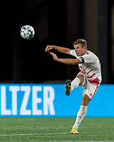 FOXBOROUGH, MA - AUGUST 21: Victor Falck #23 of Richmond Kickers clears the ball during a game between Richmond Kickers and New England Revolution II at Gillette Stadium on August 21, 2020 in Foxborough, Massachusetts.