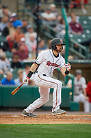 Rochester Red Wings Jake Cave (15) at bat during an International League game against the Buffalo Bisons on May 31, 2019 at Frontier Field in Rochester, New York.  Rochester defeated Buffalo 5-4 in ten innings.  (Mike Janes/Four Seam Images)