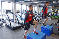 (L-R) Federico Fernandez and Ki Sung-Yueng exercise in the gym during the Swansea City Training at The Fairwood Training Ground, Swansea, Wales, UK. Thursday 19 April 2018