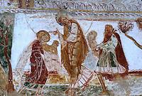 Europe/France/Poitou-Charentes/86/Vienne/Saint-Savin: Eglise romane de l'Abbaye Saint Savin sur Gartempe, fresques de la nef - Sacrifice d'Abel et Caïn