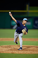 Charlotte Stone Crabs pitcher Chandler Raiden (25) during a Florida State League game against the Clearwater Beach Dogs on July 26, 2019 at Spectrum Field in Clearwater, Florida.  Clearwater defeated Charlotte 6-5.  (Mike Janes/Four Seam Images)