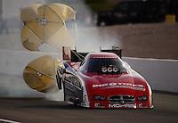 Oct. 27, 2012; Las Vegas, NV, USA: NHRA funny car driver Johnny Gray during qualifying for the Big O Tires Nationals at The Strip in Las Vegas. Mandatory Credit: Mark J. Rebilas-