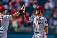 30 April 2017: Washington Nationals outfielder Bryce Harper celebrates a win against the New York Mets at Nationals Park in Washington, DC. The Nationals defeated the Mets 23-5, with the Nationals setting several individual and team records, in the third game of their weekend series. Mandatory Credit: Ed Wolfstein Photo *** RAW (NEF) Image File Available ***