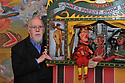 Sir Peter Blake by a Punch & Judy show that he lent to the Museum of Everything, Primrose Hill, London. 13/10/2010