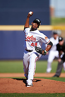 Peoria Javelinas pitcher Jesus Liranzo (48), of the Baltimore Orioles organization, during a game against the Surprise Saguaros on October 12, 2016 at Peoria Stadium in Peoria, Arizona.  The game ended in a 7-7 tie after eleven innings.  (Mike Janes/Four Seam Images)