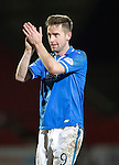 St Johnstone v Motherwell....25.02.14    SPFL<br /> Steven MacLean applauds the fans as he is subbed on his comeback<br /> Picture by Graeme Hart.<br /> Copyright Perthshire Picture Agency<br /> Tel: 01738 623350  Mobile: 07990 594431