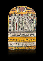 """Ancient Egyptian stele dedicated to Osiris by Neskhonsu,  Late Period, 25th Dynasty, (722-664 BC), Thebes, Cat 1596. Egyptian Museum, Turin. black background,<br /> <br /> The round topped stele dedicated by Osiris to Neskhonsu, daaughter of Nespernebu, """"gogs father"""" of Amon. Gifted by the Cairo Museum"""
