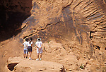 Ancient rock art of Nevada within Valley of Fire State Park (panel at Atlatl Rock-sheep and curvilinear desing)