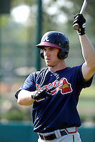 Outfielder Joe Benson (50) of the Atlanta Braves farm system before a Minor League Spring Training intrasquad game on Wednesday, March 18, 2015, at the ESPN Wide World of Sports Complex in Lake Buena Vista, Florida. (Tom Priddy/Four Seam Images)
