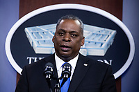 US Secretary of Defense Lloyd Austin delivers remarks to Department of Defense personnel, at the Pentagon in Arlington, Virginia, USA, 10 February 2021.<br /> CAP/MPI/RS<br /> ©RS/MPI/Capital Pictures