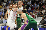 Real Madrid´s Andres Nocioni and Unicaja´s Caleb Green  during 2014-15 Liga Endesa match between Real Madrid and Unicaja at Palacio de los Deportes stadium in Madrid, Spain. April 30, 2015. (ALTERPHOTOS/Luis Fernandez)
