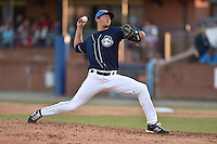 Asheville Tourists pitcher Carlos Estevez #35 delivers a pitch during a game against the Lakewood BlueClaws at McCormick Field on May 3, 2014 in Asheville, North Carolina. The BlueClaws defeated the Tourists 7-4. (Tony Farlow/Four Seam Images)
