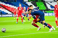 13th April 2021; Parc de Princes, Paris, France; UEFA Champions League football, quarter-final; Paris Saint Germain versus Bayern Munich;  Neymar Jr (PSG) challenged by Lucas Hernandez (Bayern)
