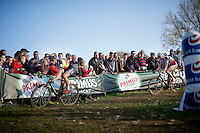 Sven Nys (BEL/Crelan-AAdrinks) leading Klaas Vantornout (BEL/Sunweb-Napoleon Games) down the always slippery Koppenberg<br /> <br /> Koppenbergcross 2014