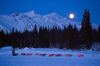 DeeDee Jonrowe runs along the lake as a near-full moon sets over the Alaska Range at Finger Lake checkpoint