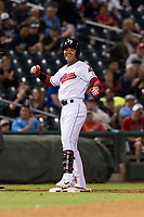 AFL West second baseman Yu Chang (9), of the Glendale Desert Dogs and Cleveland Indians organization, celebrates after hitting a two-run triple during the Fall Stars game at Surprise Stadium on November 3, 2018 in Surprise, Arizona. The AFL West defeated the AFL East 7-6 . (Zachary Lucy/Four Seam Images)