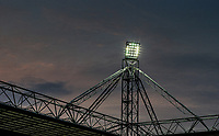 20th April 2021; Deepdale, Preston, Lancashire, England; English Football League Championship Football, Preston North End versus Derby County; a view of the Deepdale stadium floodlights as the sun sets during the second half