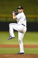 Mesa Solar Sox pitcher Arik Sikula (49) during an Arizona Fall League game against the Peoria Javelinas on October 16, 2014 at Cubs Park in Mesa, Arizona.  Mesa defeated Peoria 6-2.  (Mike Janes/Four Seam Images)
