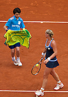 France, Paris, 02.06.2014. Tennis, French Open, Roland Garros, Kiki Bertens (NED) gets a towel from a ballboy<br /> Photo:Tennisimages/Henk Koster